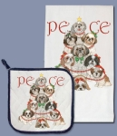 Shih Tzu Dogs Holiday Peace Dish Towel & Pot Holder Set from Pipsqueak Productions