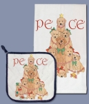 Golden Retrievers Holiday Peace Dish Towel & Pot Holder Set from Pipsqueak Productions