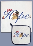 Labrador Dogs Holiday Hope Dish Towel & Pot Holder Set from Pipsqueak Productions