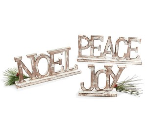Set of 3 Word Art White Washed Wood Christmas Signs (Noel & Peace & Joy) from Burton & Burton