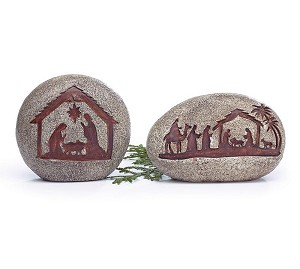 Set of 2 Rock Look Holy Family Nativity Figurines from Burton & Burton