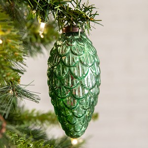 Decorative Green Pine Cone Glass Hanging Christmas Ornament Set of 4 from CTW Home Collection