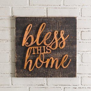 Metal Word Art Bless This Home Decorative Wooden Wall Décor Sign 14.25 Inch from CTW Home Collection