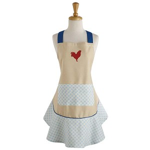 Red Rooster Print Ruffle Cotton Apron from Design Imports