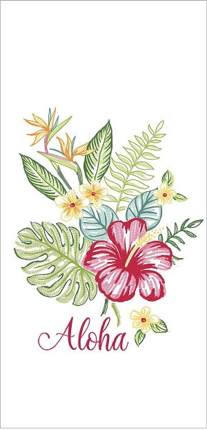 Aloha Floral Embroidered Cotton Kitchen Flour Sack Dish Towel 26x26 from Kay Dee Designs