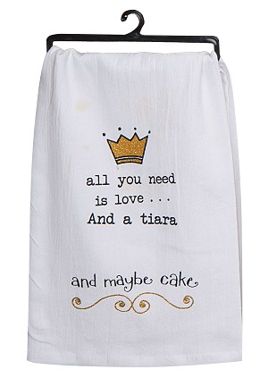 All You Need Is Love & A Tiara Krinkle Flour Sack Kitchen Towel 26x26 from Kay Dee Designs