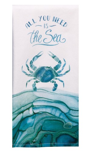 Coastal Tranquility Sea Crab Design Dual Purpose Cotton Terry Dish Towel 16x26 from Kay Dee Designs