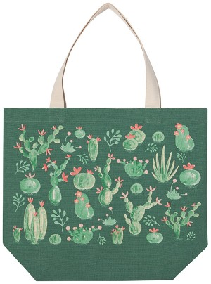 Green Cactus Print Design Cotton Tote Bag from Now Designs
