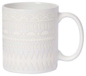 Ornate White Gala Stoneware Coffee Mug 14 Oz from Now Designs