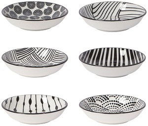 Black & White Porcelain Pinch Bowls Set of 6 from Now Designs