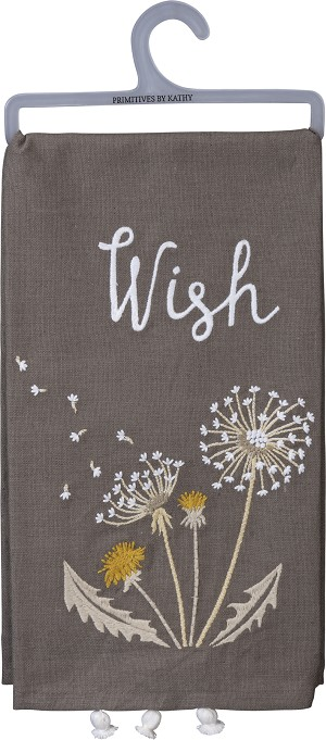 Dandelion Wish Cotton Dish Towel 20x26 from Primitives by Kathy