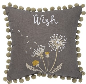 Dandelion Wish Cotton Throw Pillow 12x12 by Artist Cathy Heck Studios from Primitives by Kathy