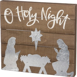 O Holy Night Decorative Wooden Slat Box Sign 16x15 from Primitives by Kathy