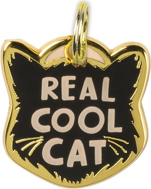 Real Cool Cat Collar Charm by Artist LOL Made You Smile from Primitives by Kathy