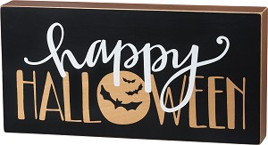 Happy Halloween Bats & Moon Box Sign 12x6 by Artist Phil Chapman from Primitives by Kathy