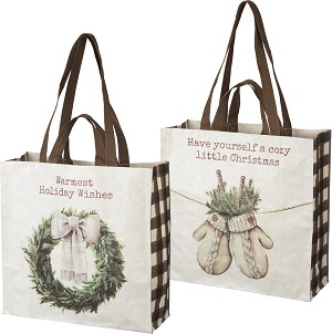 Warmest Holiday Wishes Shopping Tote Bag from Primitives by Kathy