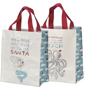 More Glasses Of Wine I'll See Santa Daily Tote Shopping Bag from Primitives by Kathy