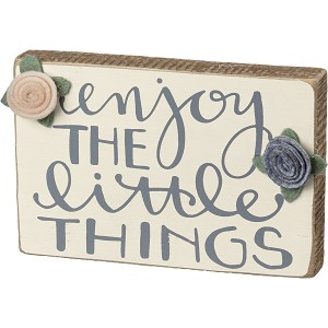 Enjoy The Little Things Decorative Wooden Box Sign 6x4 from Primitives by Kathy