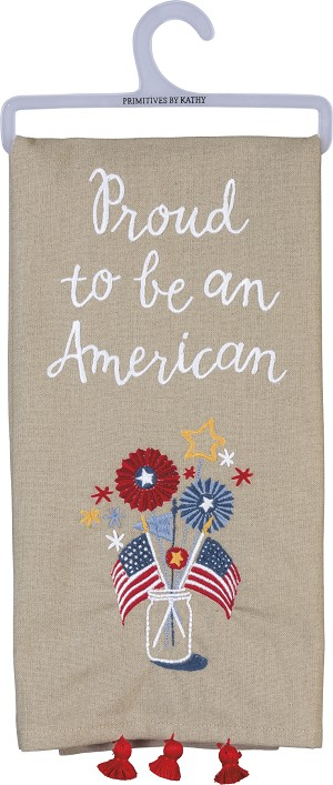 Proud To Be An American Cotton Dish Towel 26x20 from Primitives by Kathy