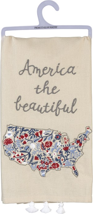 America The Beautiful Decorative Cotton Dish Towel 26x20 from Primitives by Kathy