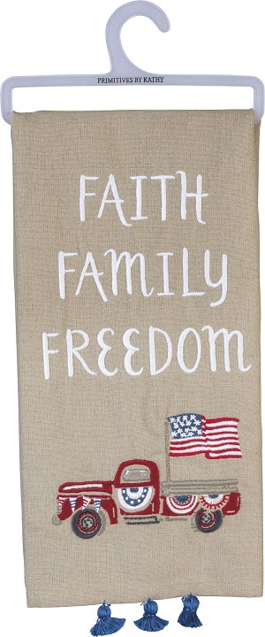 Faith Family Freedom Decorative Cotton Dish Towel 26x20 from Primitives by Kathy