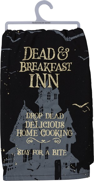 Dead And Breakfast Inn Cotton Dish Towel 28x28 from Primitives by Kathy