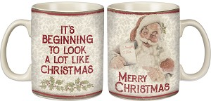 It's Beginning To Look A Lot Like Christmas Double Sided Stoneware Coffee Mug 20 Oz from Primitives by Kathy