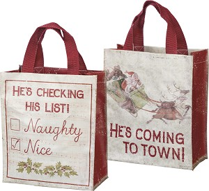 He's Checking His List Santa's Coming Double Sided Daily Tote Bag from Primitives by Kathy