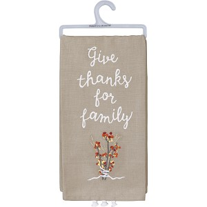 Floral Design Give Thanks For Family Cotton & Linen Blend Dish Towel 20x26 from Primitives by Kathy