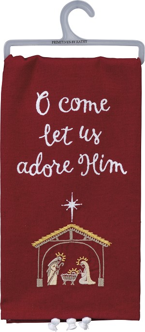 Nativity Scene O Come Let Us Adore Him Cotton & Linen Dish Towel 20x26 from Primitives by Kathy
