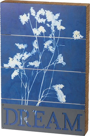Floral Dream Indigo Dye Slat Wood Box Sign 12x8 from Primitives by Kathy