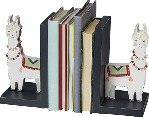 Quilted Llama Design Wooden Bookends Set 4 Inch x 7 Inch from from Primitives by Kathy