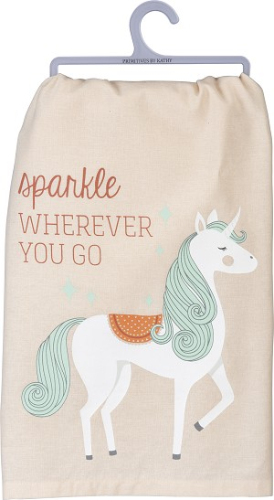 Unicor Sparkle Wherever You Go Cotton Dish Towel 28x28 from Primitives by Kathy