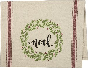 Wreath Design Noel Decorative Cotton Dish Towel 15x24 from Primitives by Kathy