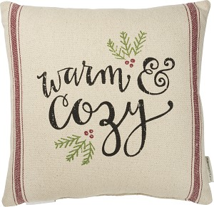 Holly Design Warm & Cozy Decorative Cotton Throw Pillow 15x15 from Primitives by Kathy