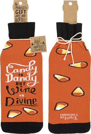 Candy Is Dandy But Wine Is Divine Wine Bottle Sock Holder from Primitives by Kathy