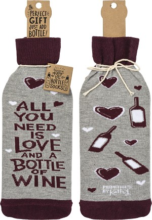 All You Need Is Love And A Bottle Of Wine Bottle Sock Holder from Primitives by Kathy