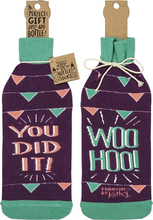 You Did It! Woo Hoo You! Decorative Wine Bottle Sock Holder from Primitives by Kathy