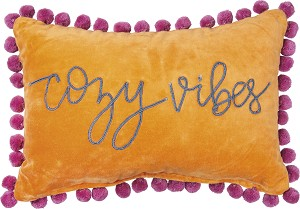 Cozy Vibes Vibrant Velvet Decorative Throw Pillow 15x10 from Primitives by Kathy