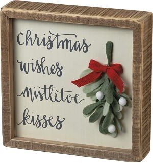 Christmas Wishes Mistletoe Kisses Decorative Inset Wooden Box Sign 7x7 from Primitives by Kathy
