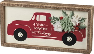 Floral Red Truck Home For The Holidays Decorative Inset Wooden Box Sign 12x6 from Primitives by Kathy
