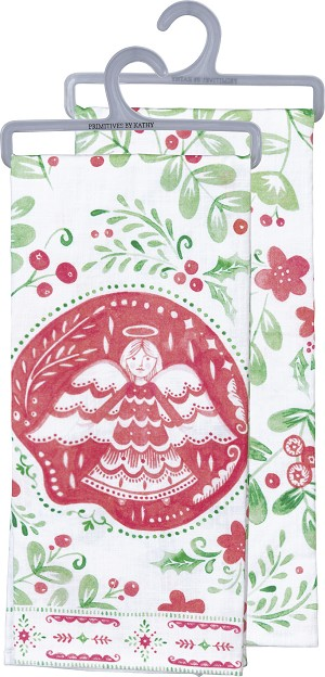 Angel & Holly Cotton Dish Towel 18x28 from Primitives by Kathy