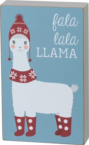 Fa La La La Llama Decorative Wooden Block Sign from Primitives by Kathy