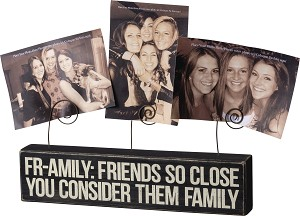 Fr-amily Friends So Close They Are Family Wooden Block Sign With 3 Photo Holders from Primitives by Kathy