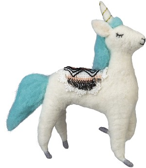 Unicorn With Saddle Felt Figurine 6 Inch from Primitives by Kathy