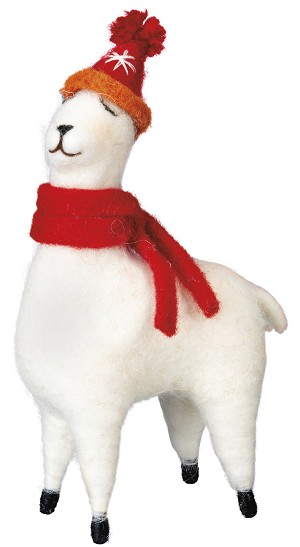 Llama With Scarf & Beanie Hat Figurine 6.75 Inch from Primitives by Kathy