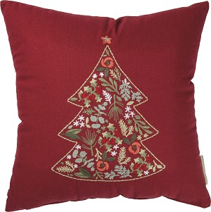 Botanical Christmas Tree Decorative Throw Pillow 14x14 from Primitives by Kathy