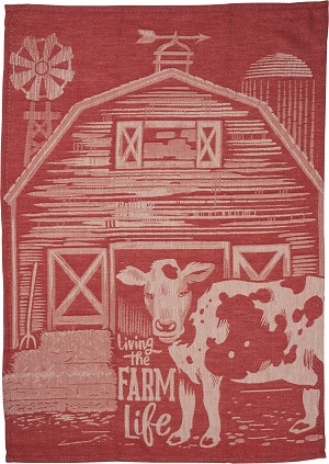 Living The Farm Life Cotton Dish Towel 20x28 from Primitives by Kathy