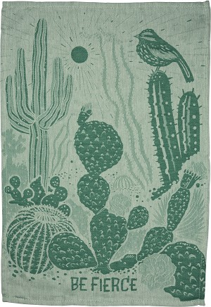 Be Fierce Jacquard Woven Cotton Dish Towel 28x20 from Primitives by Kathy