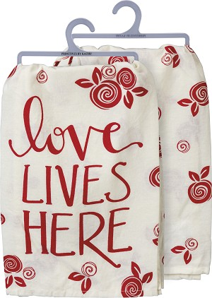 Red & White Love Lives Here Cotton Dish Towel 28x28 from Primitives by Kathy